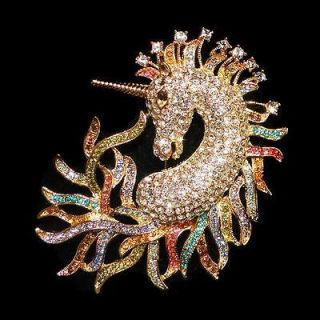 Luxury Horse Unicorn Brooch Pin Multi Austrian Rhinestone Crystal
