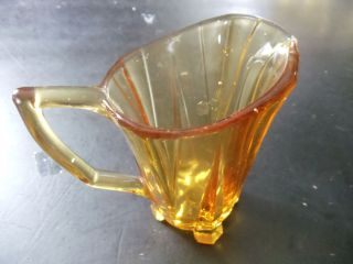 GORGEOUS VINTAGE ANTIQUE DEPRESSION GLASS AMBER MINIATURE PITCHER VGC