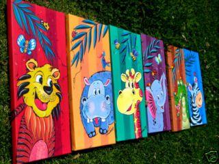 of 6 Prints on Canvas Jungle Animals Wall Art Childrens Room 15x31x2cm