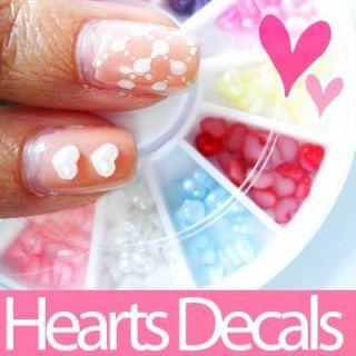 Heart Shape Nail Art Decals Rhinestone Free Nail Glue