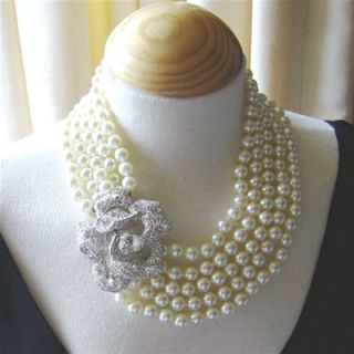 kenneth jay lane 5 strand pearl crystal rose necklace