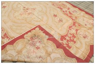 FREE SHIP! 8X10 French Aubusson Area Rug MUTED ANTIQUE RED BEIGE Rose