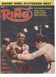 THE RING BOXING MAGAZINE AUGUST 1961 ARCHIE MOORE WINS TITLE