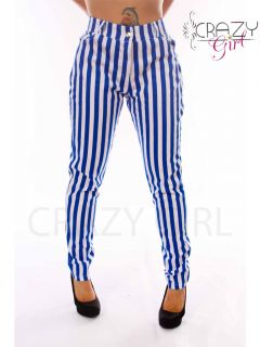 Vertical Striped High Waist Skinny Jeans Trousers Slim Fit Plus Size