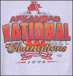 basketball NATIONAL CHAMPION winner ARKANSAS RAZORBACK t shirt XL hog
