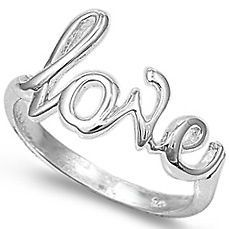 Womens 925 Sterling Silver Script LOVE Heart Band Valentines Day