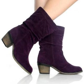 Womens Fashion Cowboy Boots Western Cowgirl Slouch Roper Purple Heels