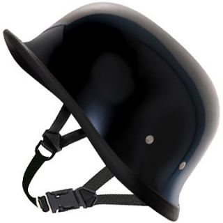 HI GLOSS BLACK GERMAN Daytona NOVELTY Motorcycle Half Helmet LOW
