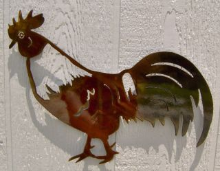 Rooster Dining Room or Kitchen Metal Wall Art Copper Patina Finish