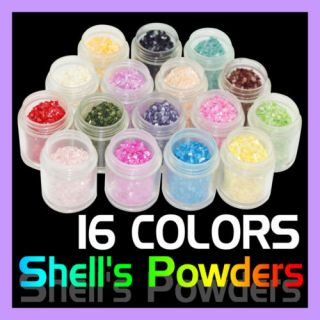 16 Colors x Acrylic Nail Art Shell Glitter Powder B72