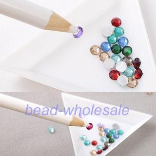 4pc Rhinestones Picker Pencil Nail Art Tool Wax White Pen for Craft