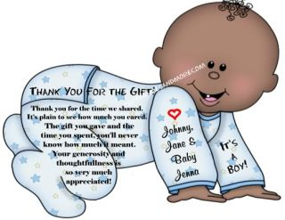 Baby Shower Invitation or Thank You Cards Shaped Like Baby