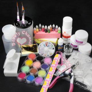 Full Pro Acrylic Powder Liquid Kits Nail Art Tip Kit