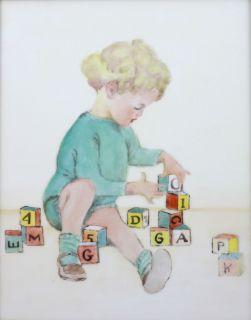 Hand Painted Ceramic Tile Art Baby with Blocks Nursery