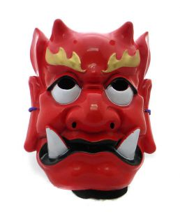 red japanese vintage ghost monster evil noh oni mask from