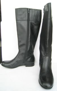 Arturo Chiang Black Tall Leather Riding Boots Sz7 New