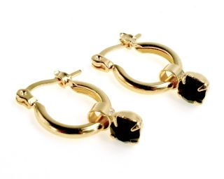 GF Jet Black Crystal Baby Kids Girl Earrings Little Hoop 10mm Azabache