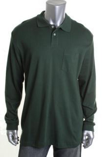 John Ashford New Green Cotton Stretch Solid Long Sleeves Casual Polo