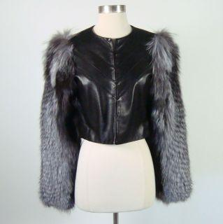 Kim Kardashian Gabby Applegate Cropped Black Leather Jacket With Fur