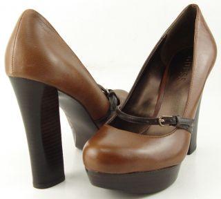 Guess Artie Brown Womens Designer Shoes High Heels Mary Jane Platform