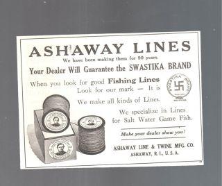 1915 ASHAWAY LINE & TWINE RI SWASTIKA BRAND ADV