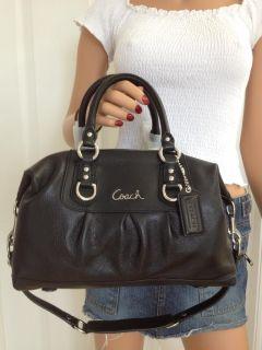 Coach Ashley Leather Satchel Purse Shoulder Bag Handbag 15445 Black