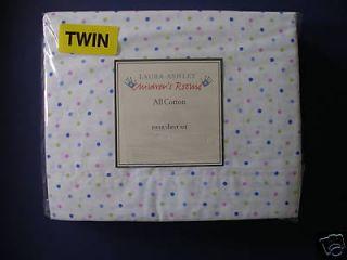 Laura Ashley Kelsey Dot Blue Twin Sheet Set 3 Pcs NIP