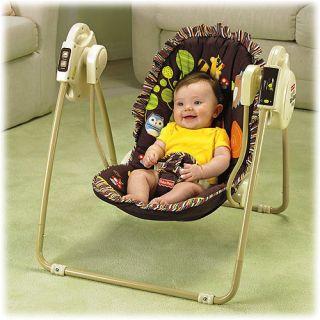 BABY TAKE ALONG SWING WOODLAND ANIMAL OWL BROWN WOOD LAND SEAT FOR