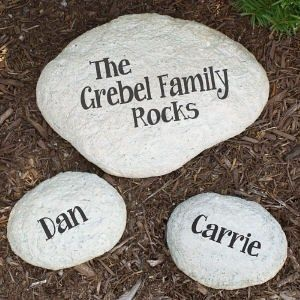 Personalized Engraved ONE MY FAMILY Rocks LARGE Garden Stone