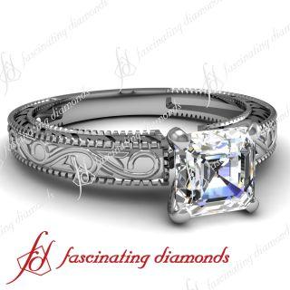 65 Ct Asscher Cut Diamond Engagement Ring 14k Gold SI1 H Color GIA