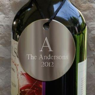 Wine Liquor Bottle Decanter Tag Label Set Silver Personalized Metal