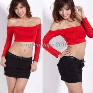 New Women Off shoulder Midriff baring tops T shirt Sexy Red Top