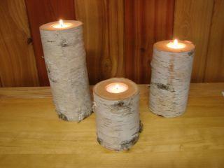 Set of 3 Large Birch Bark Log Tea Light Candle Holders