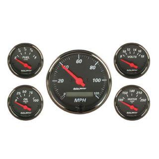 New Auto Meter Designer Black Series Electrical Gauge Set w/ Black