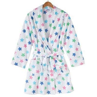 Croft Barrow Fleece Wrap Short Robe White Multi Stars 2 Pockets Wrap w