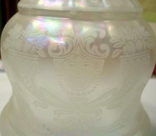 Antique 5 White Pearl Frosted Iridescent Glass Lamp Shade 2 1 4