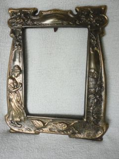 Antique Art Deco Ornate Metal Frame with Lady with Birds