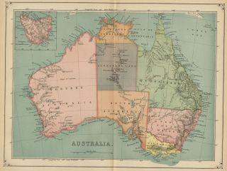 Australia Map Authentic 1883 States Ports Cities Topog Tasmania Inset
