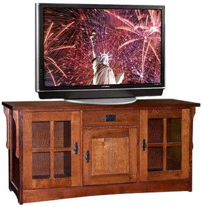 Arts & Crafts Mission Style Furniture 65 TV Stand Audio Cabinet Media