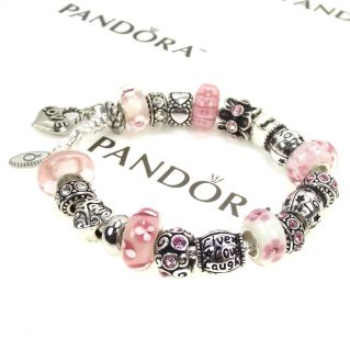 Authentic Pandora Bracelet Murano Pink Glass Bead Joy Live Love Laugh