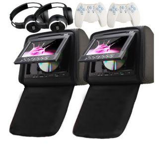 Black 2X 7 inch Car Headrest DVD Player Radio TV Monitor Headphones