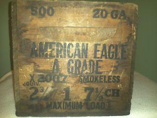 old vintage American Eagle 12 gauge shot gun ammo box wood crate