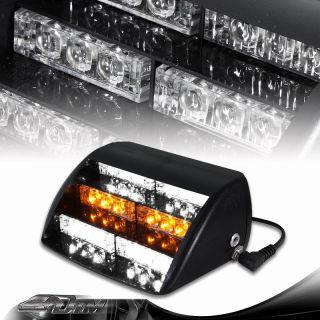 18 LED Amber / White Car Truck Interior Strobe Warning Flash Lightbars