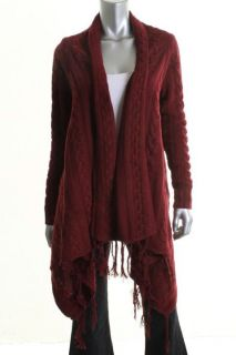Autumn Cashmere New Red Fringe Trimmed Cable Knit Open Front Cardigan