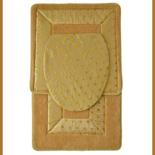 Gold 3 Piece Bathroom Rug Mat Set Bath Mat Contour Rug Toilet Seat Lid