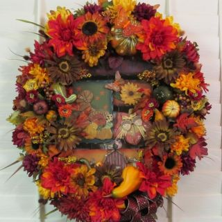 Wreath Autumn Arrangement Silk Flower Woodsy Centerpiece Pumpkin Gourd