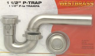 Satin Nickel P Trap Bathroom Sink Pipe Drain Flange Kit