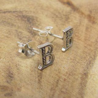 earrings plain cute initial letter b 925 silver stud earrings