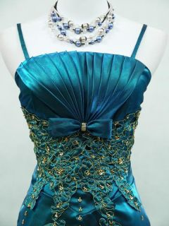 CHERLONE Satin Blue Sparkle Long Prom Ball Wedding Evening Gown