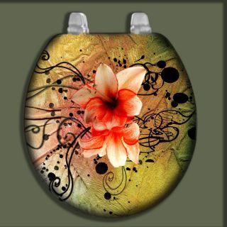 Flower Design CUSTOM Image Airbrushed Bathroom Art Decor Toilet Seat